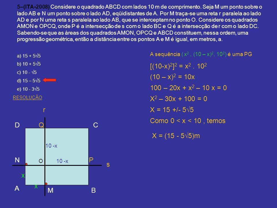 [(10-x)2]2 = x2 . 102 (10 – x)2 = 10x 100 – 20x + x2 – 10 x = 0